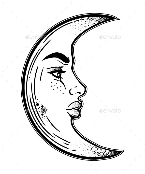 Phases of the moon clipart tumblr linear clip freeuse stock Romantic elegant crescent moon as a beautiful woman face in linear ... clip freeuse stock