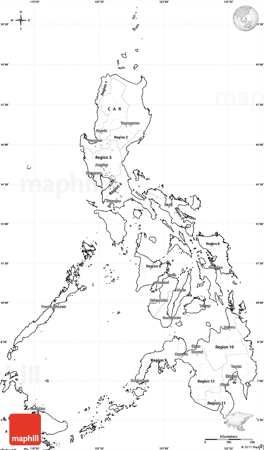 Philippines map regons clipart black and white banner download Philippines Black and White – Fashion dresses banner download