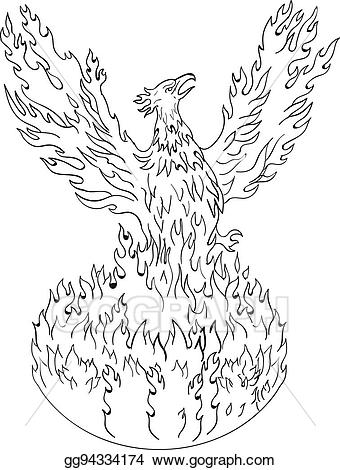 Phoenix rising clipart clip art free library EPS Illustration - Phoenix rising fiery flames black and ... clip art free library