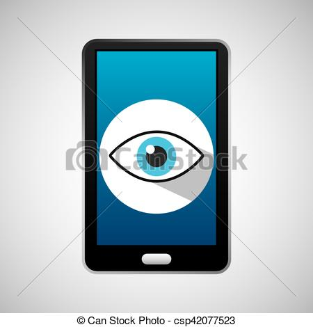 Phone app clipart jpg library stock Vector Illustration of mobile phone app eye surveillance vector ... jpg library stock
