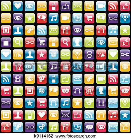 Phone app clipart picture library Clipart of Mobile phone app icons pattern background k9114162 ... picture library
