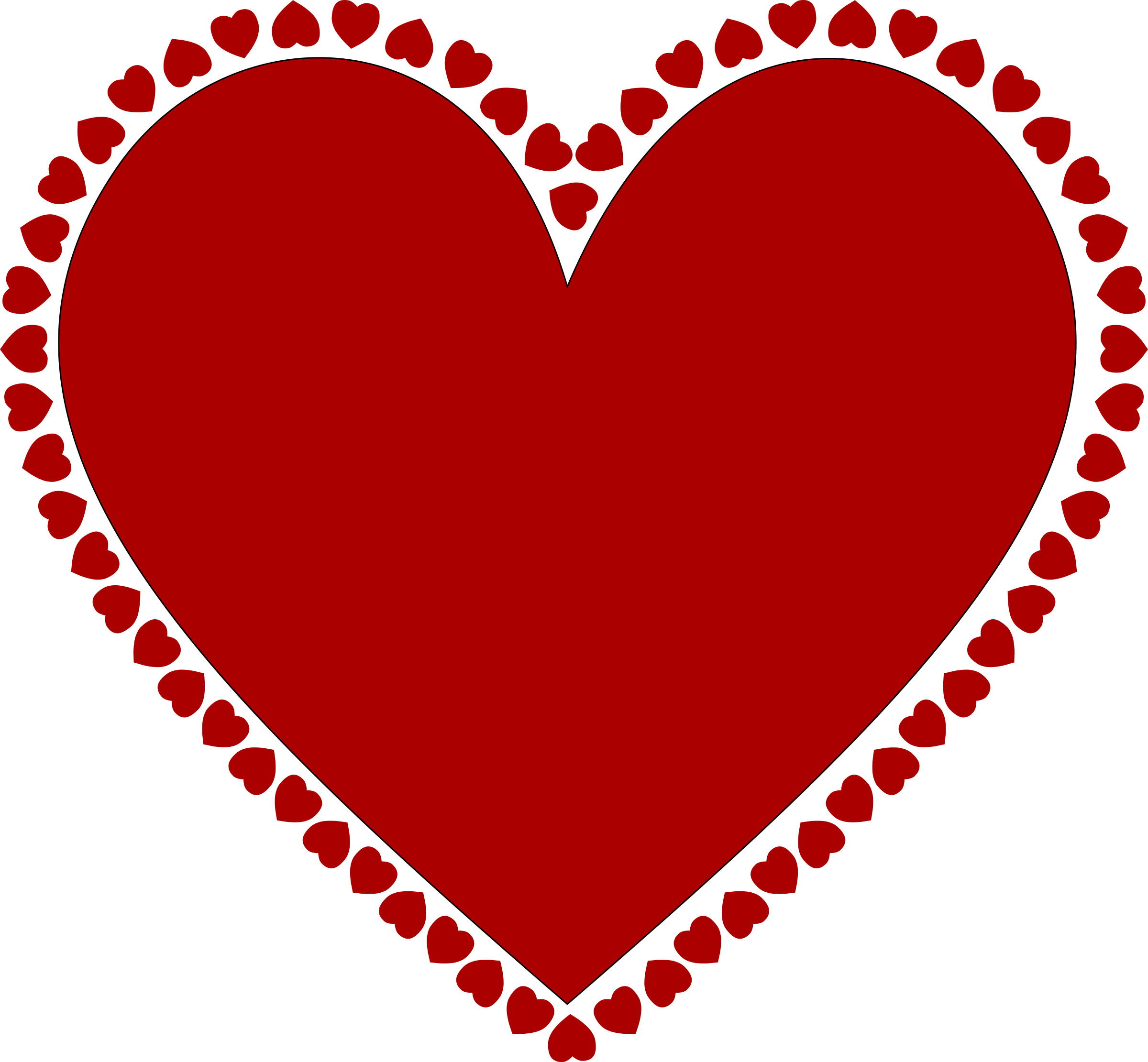 Heart border clipart png vector library Clipart - Frame of hearts vector library