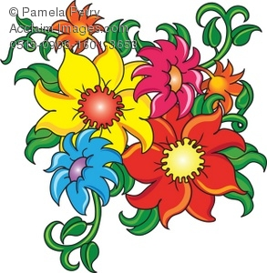 Photos of cartoon flowers clipart Clip Art Illustration of Cartoon Flowers - Acclaim Stock Photography clipart