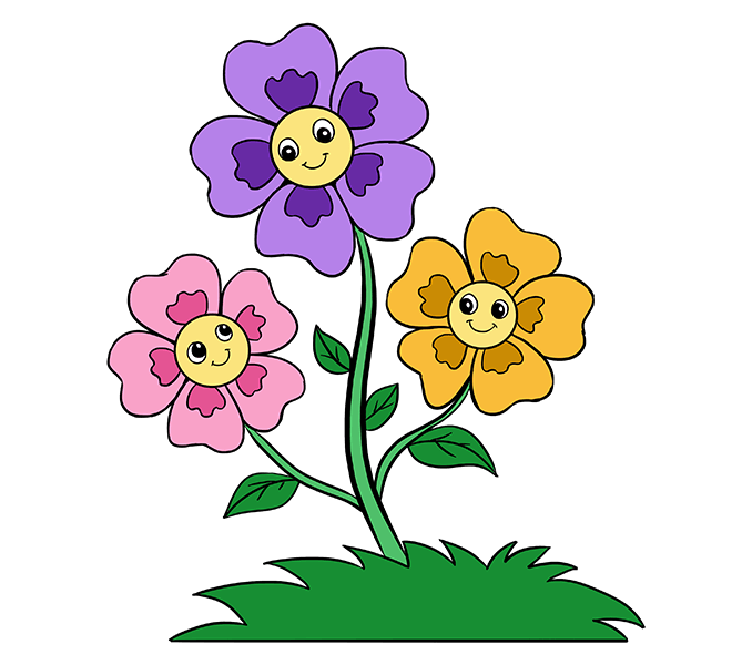 Picture of cartoon flowers vector free library Flower Cartoon Drawing at GetDrawings.com | Free for personal use ... vector free library