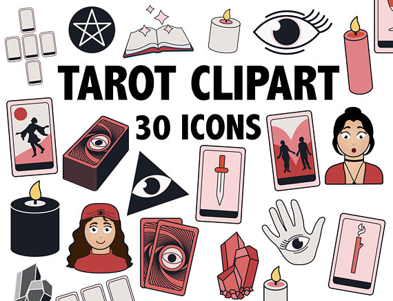 Phsychic clipart black and white TAROT CLIPART - occult, wicca and psychic icons - Printable ... black and white
