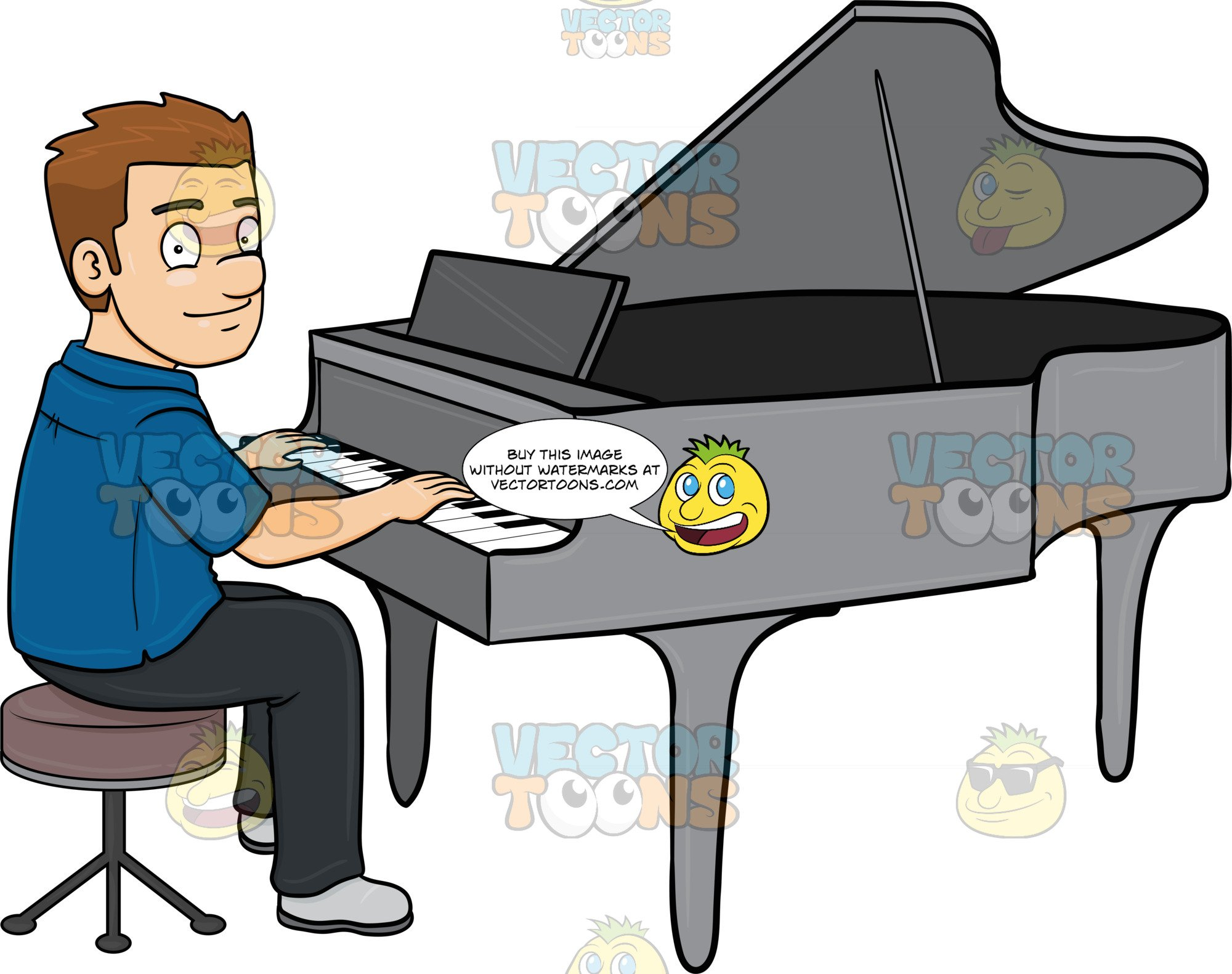 Playing piano clipart stock A Man Smiles While Playing The Piano stock