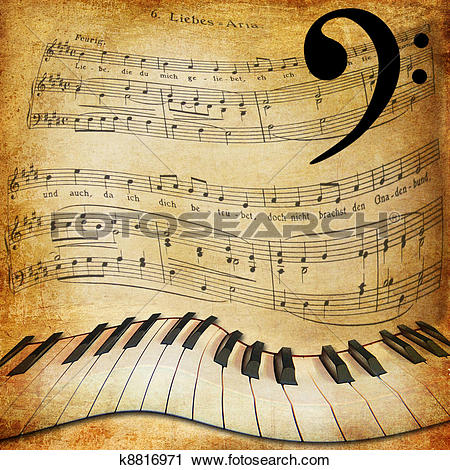 Piano sheet music clipart banner black and white download Stock Photography of warped piano and music sheet background ... banner black and white download