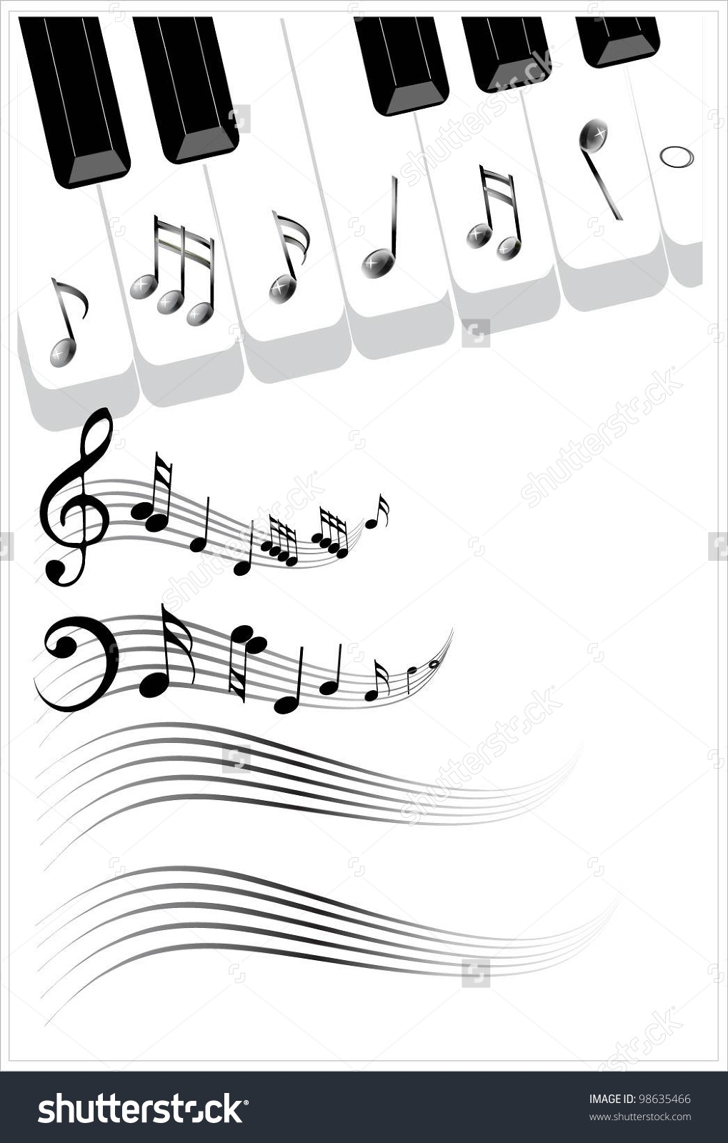 Piano sheet music clipart clip art library download Clip Art Illustration Music Background Piano Stock Vector 98635466 ... clip art library download