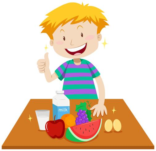 Picking up food from a table clipart svg royalty free Little boy and healthy food on table - Download Free Vectors ... svg royalty free