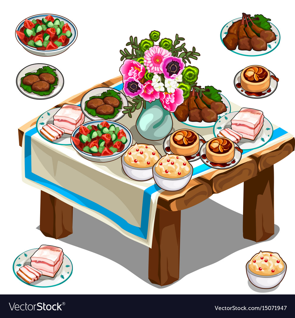 Picking up food from a table clipart clipart library Festive table with delicious food and flowers clipart library