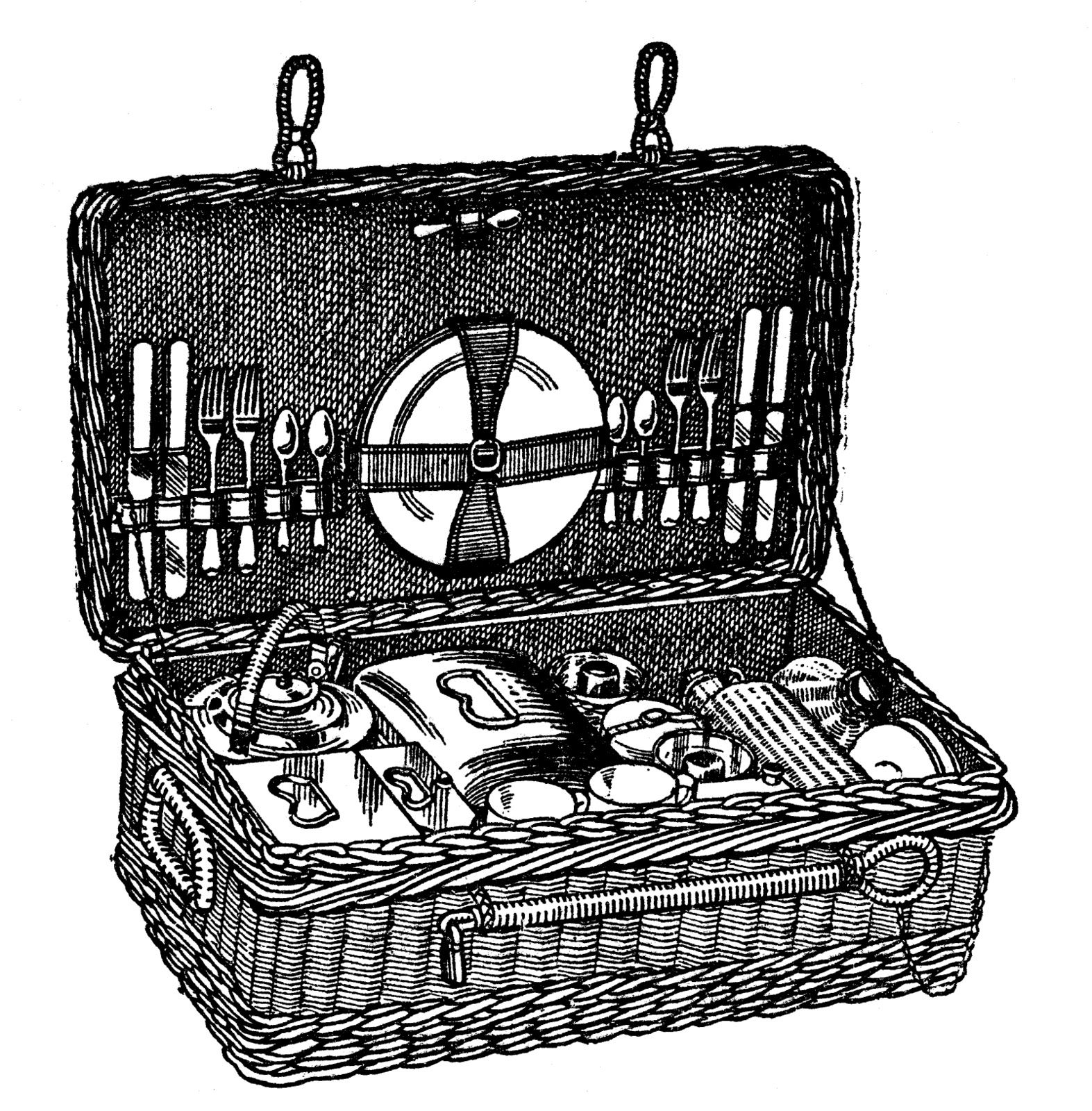 Picnic basket with wine clipart black and white svg black and white download Vintage Angel Clip Art Free | ... clip art vintage picnic ... svg black and white download