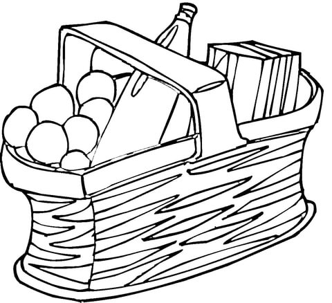 Picnic basket with wine clipart black and white graphic library download Picnic Basket coloring page | Free Printable Coloring Pages graphic library download