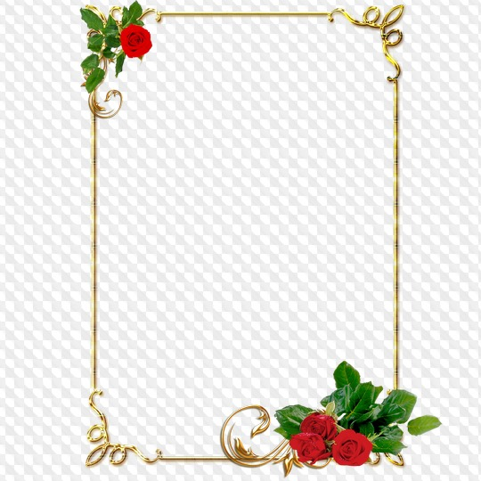 Picture frame clipart format png Clipart, gold frames, with red roses, PNG format png