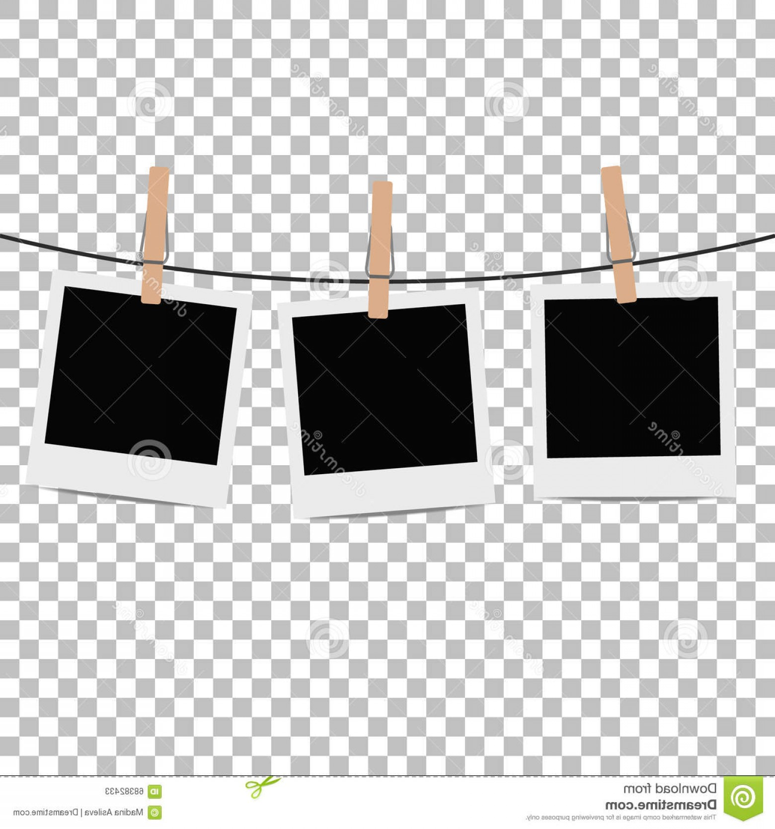 Picture frame clipart on a clothes pin image library stock Stock Illustration Photo Frame Hung Rope Clothespin ... image library stock