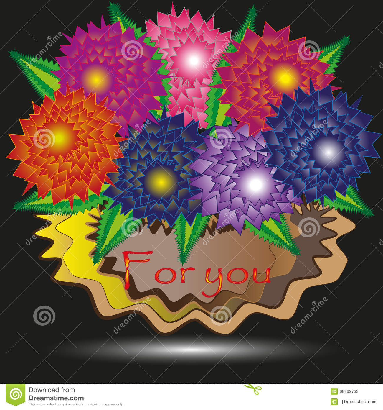 Picture of a big bunch of flowers jpg transparent stock Abstraction For You Big Bunch Of Flowers Stock Vector - Image ... jpg transparent stock