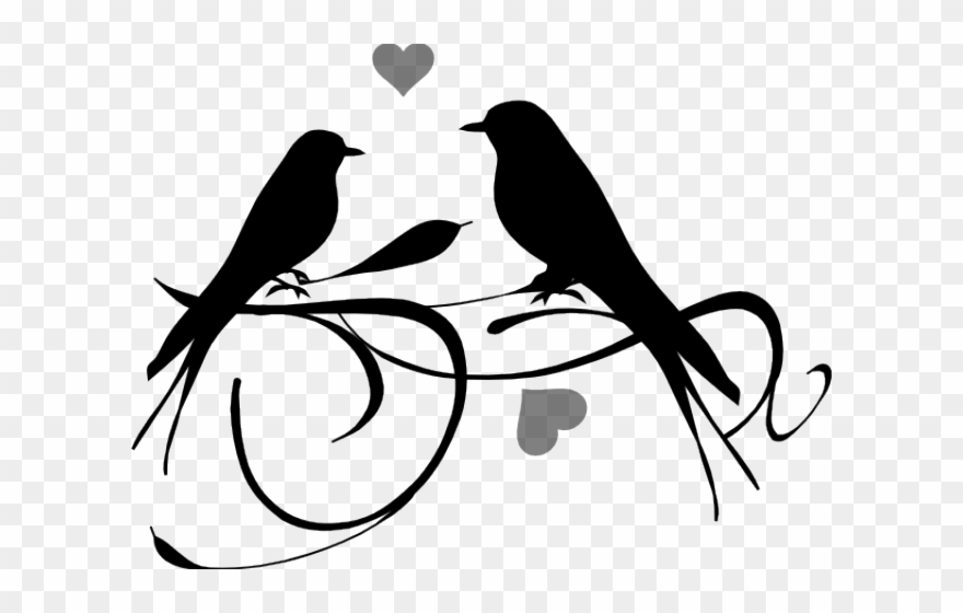 Picture of a bird clipart black and white vector black and white stock Love Wood Clipart Black And White - Love Bird Clipart Black ... vector black and white stock