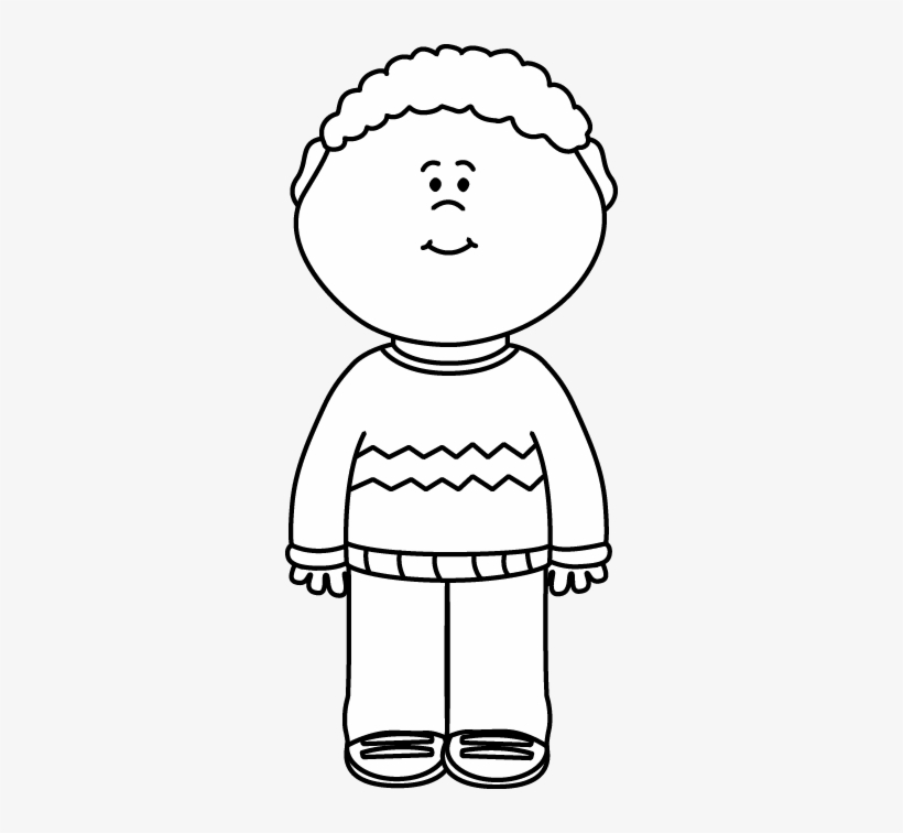 Picture of a boy clipart black and white jpg library Black And White Kid Wearing A Sweater Clip Art - Black And ... jpg library