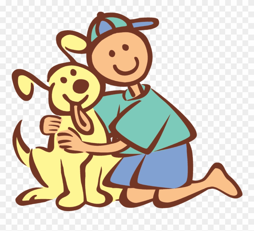 Picture of a boy hugging a dog clipart