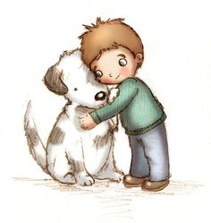 Picture of a boy hugging a dog clipart picture transparent library 586 Best Hugs images in 2018 | Illustration art, Nidhi ... picture transparent library