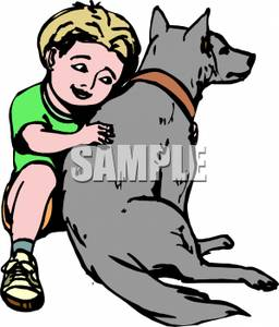 Picture of a boy hugging a dog clipart picture royalty free stock A Young Boy Hugging His Large Dog - Royalty Free Clipart Picture picture royalty free stock