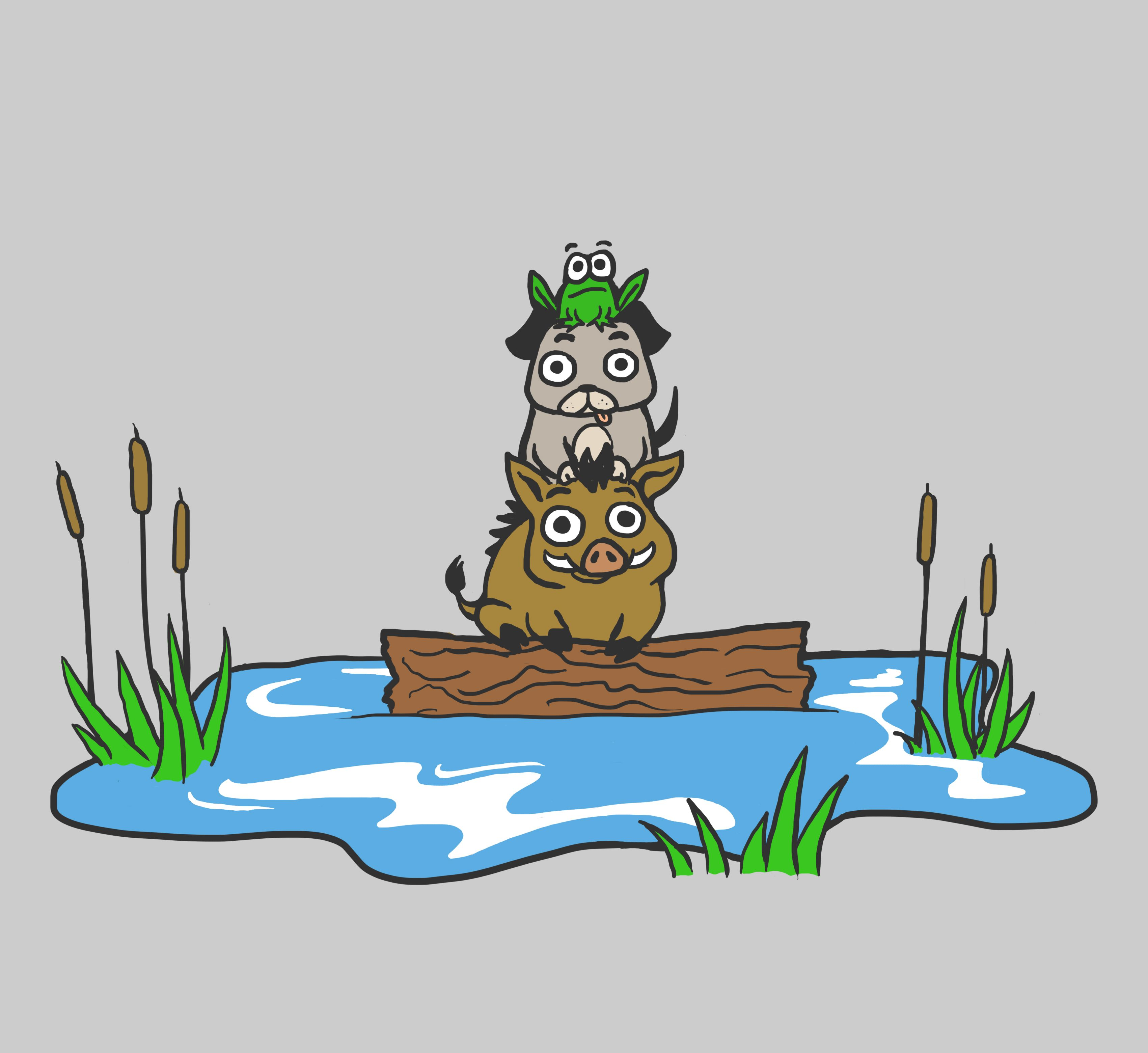 Picture of a dog falling off a log clipart free library Frog on a Dog, on a Hog, on a Log, in a Bog. | My Drawings ... free library