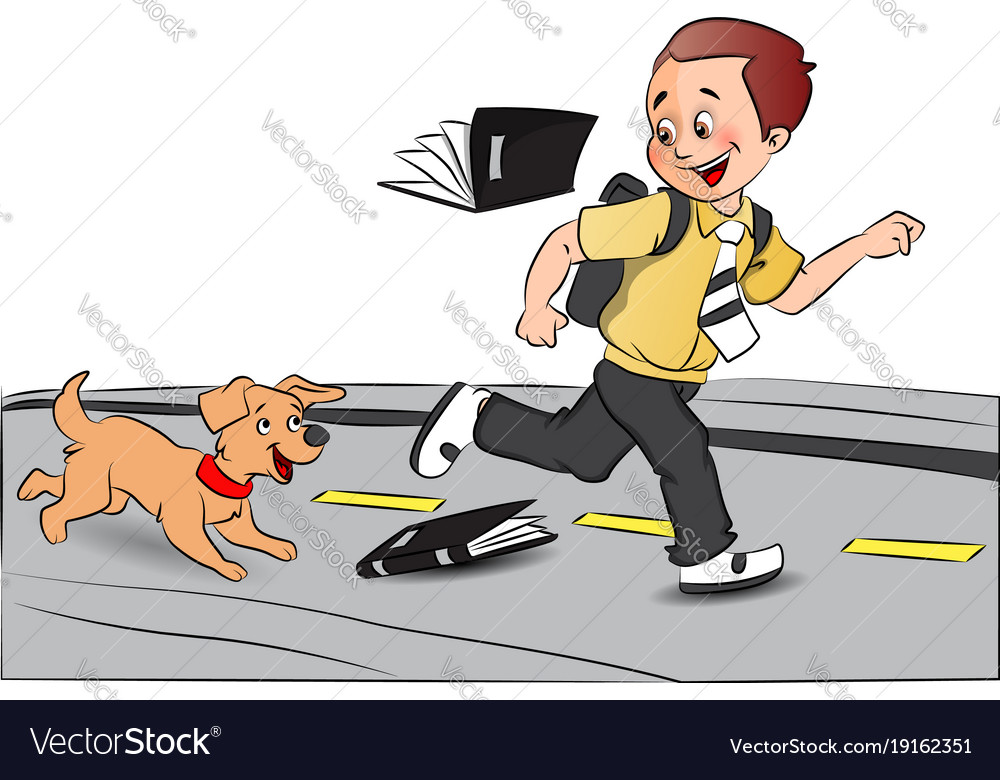 Picture of a dog falling off a log clipart banner black and white download Happy schoolboy running with pet dog books falling banner black and white download