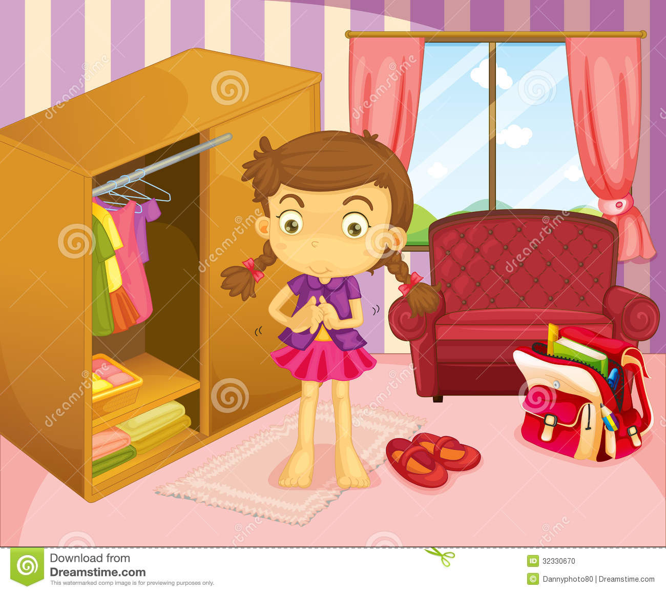 Picture of a girl preparing for school clipart png free library Girl Preparing For School Clipart png free library