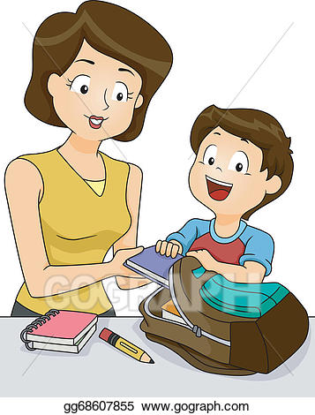 Picture of a girl preparing for school clipart clip free stock Vector Stock - Preparing for school. Clipart Illustration ... clip free stock