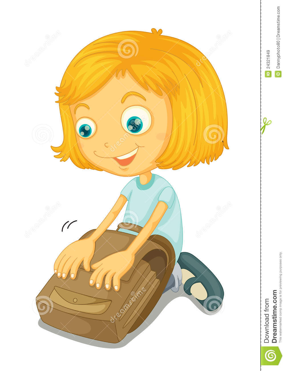 Picture of a girl preparing for school clipart vector free stock Girl Preparing For School Clipart vector free stock