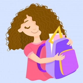 Picture of a girl preparing for school clipart banner library library School girl with book and schoolbag Vector | Free Download banner library library