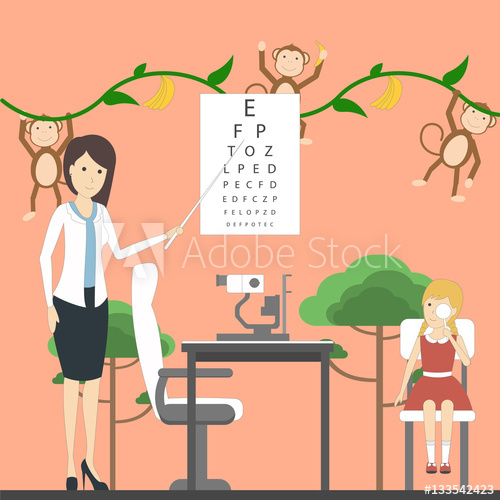 Picture of a girl preparing for school clipart vector royalty free Eye exam for children with doctor and girl in ... vector royalty free