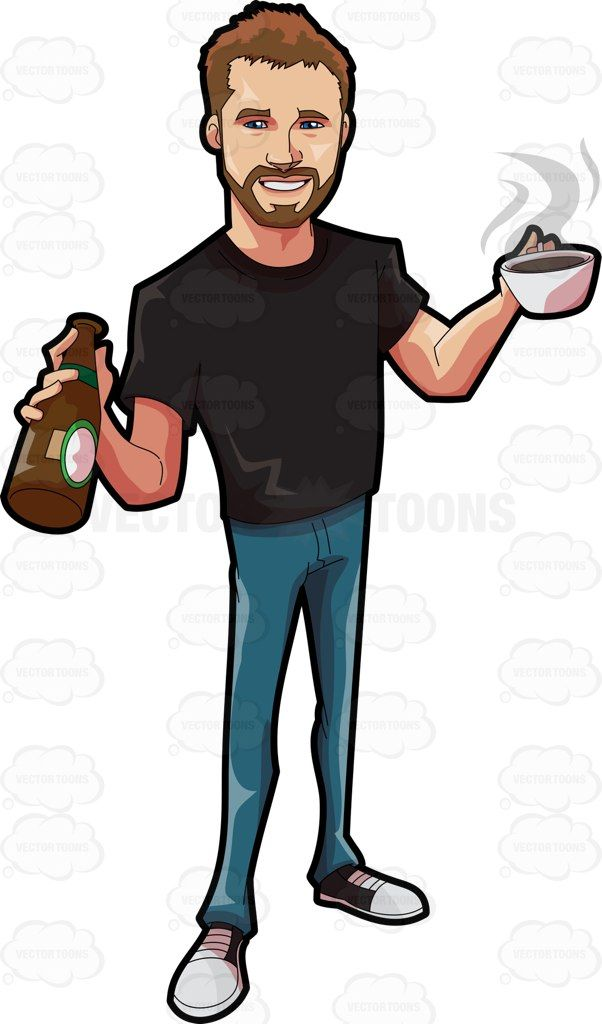 Picture of a man holding a prism clipart clipart black and white stock A cute guy holding a couple of hot and cold drinks #cartoon ... clipart black and white stock