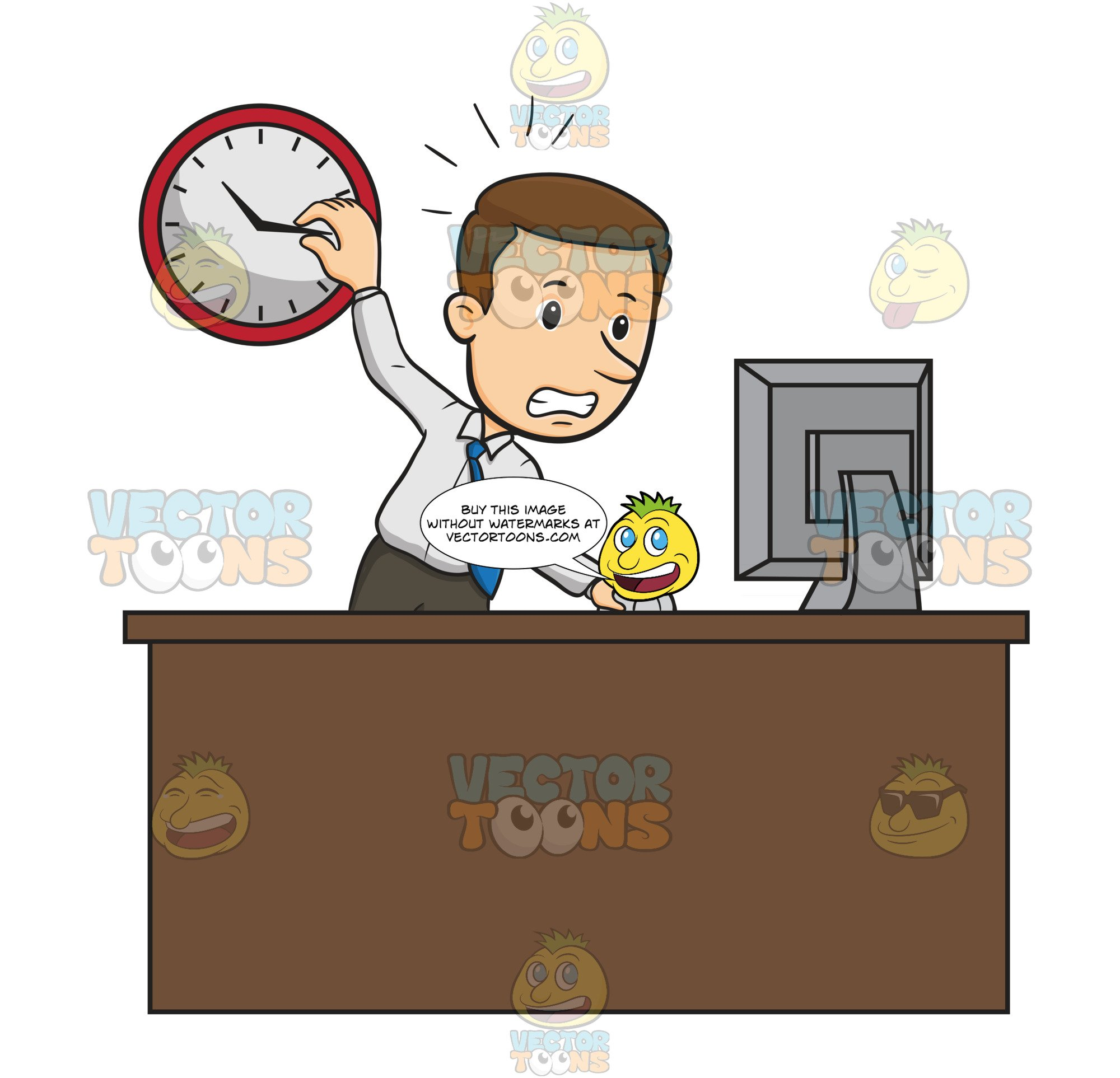 Picture of a people stressed at a desk clipart vector freeuse stock Business Man Stands At Work Desk Staring At Computer Screen With One Hand  On Wall Clock And His Other Hand Operating Computer Mouse, Looks Stressed vector freeuse stock