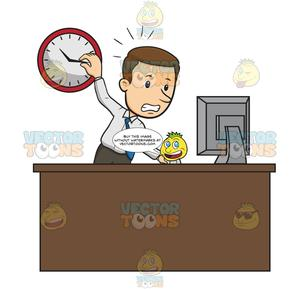 Picture of a people stressed at a desk clipart clip art freeuse library Business Man Stands At Work Desk Staring At Computer Screen With One Hand  On Wall Clock And His Other Hand Operating Computer Mouse, Looks Stressed clip art freeuse library