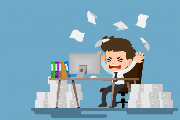 Picture of a people stressed at a desk clipart banner library stock Businessman tired and stress at the desk by a lot of work ... banner library stock