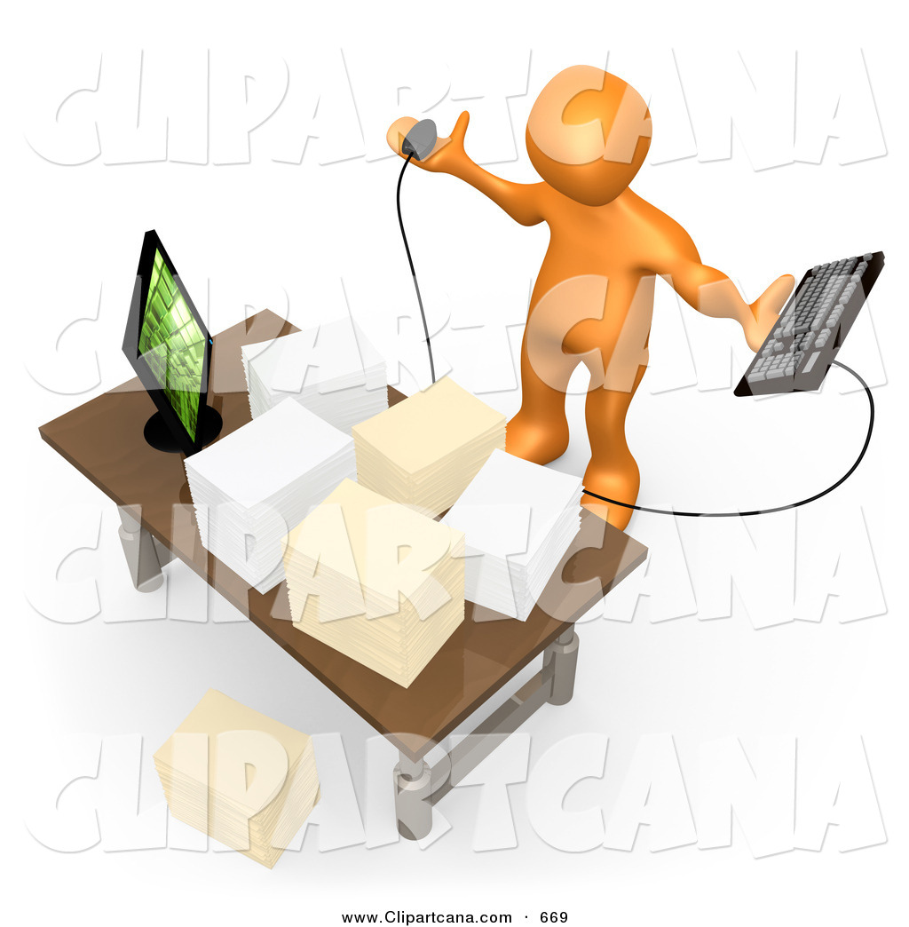 Picture of a people stressed at a desk clipart graphic black and white library Clip Art of a Stressed out Busy Orange Employee Staring at ... graphic black and white library