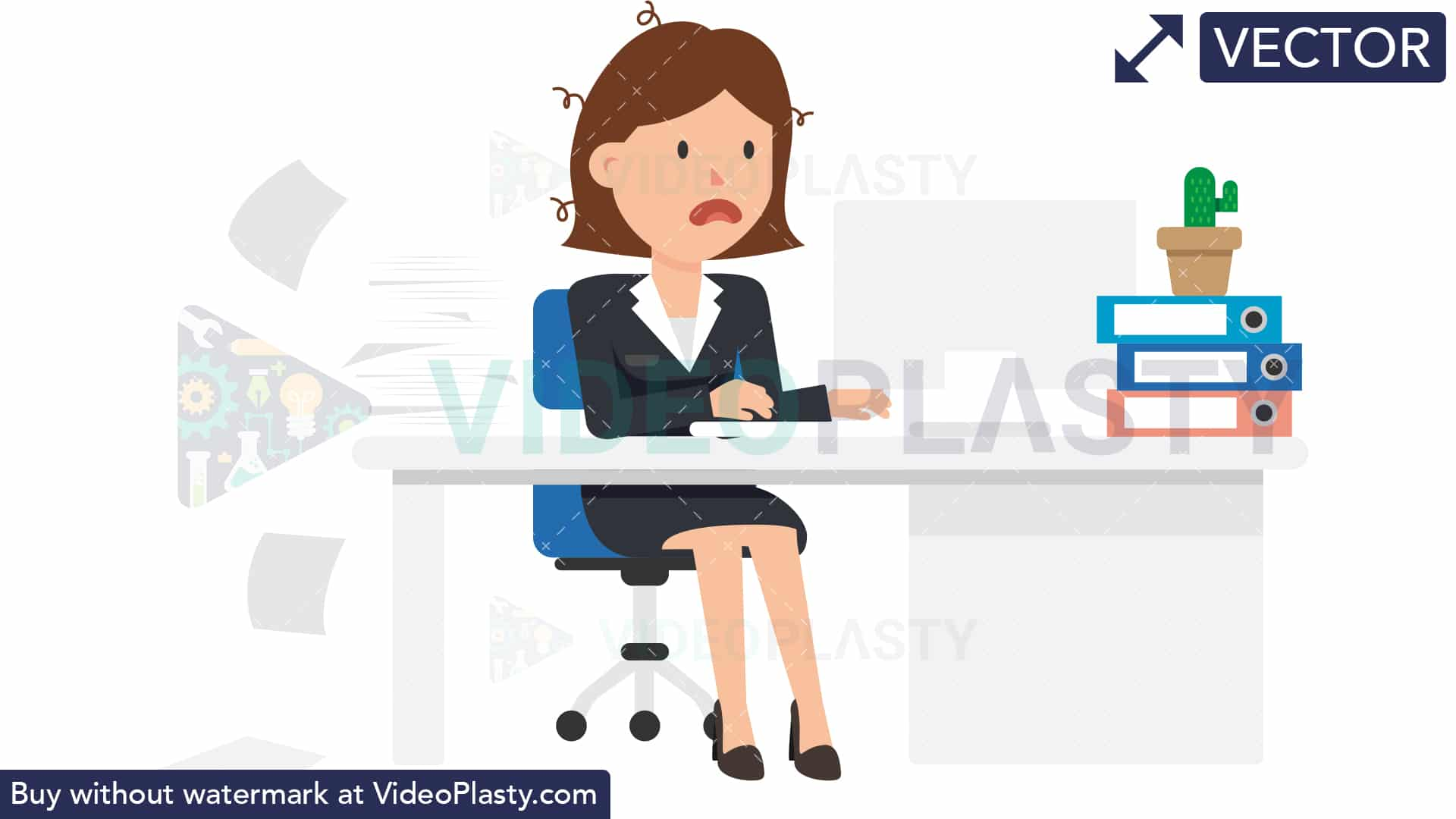 Picture of a people stressed at a desk clipart vector royalty free stock Corporate Woman Being Stressed at Work [VECTOR] vector royalty free stock