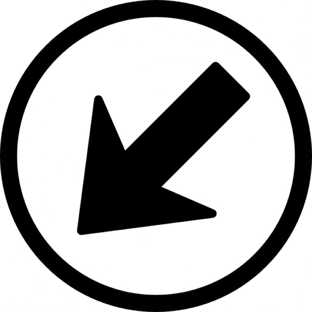 Picture of arrow pointing down png black and white download Navigational arrow pointing down left in a circle Icons   Free ... png black and white download