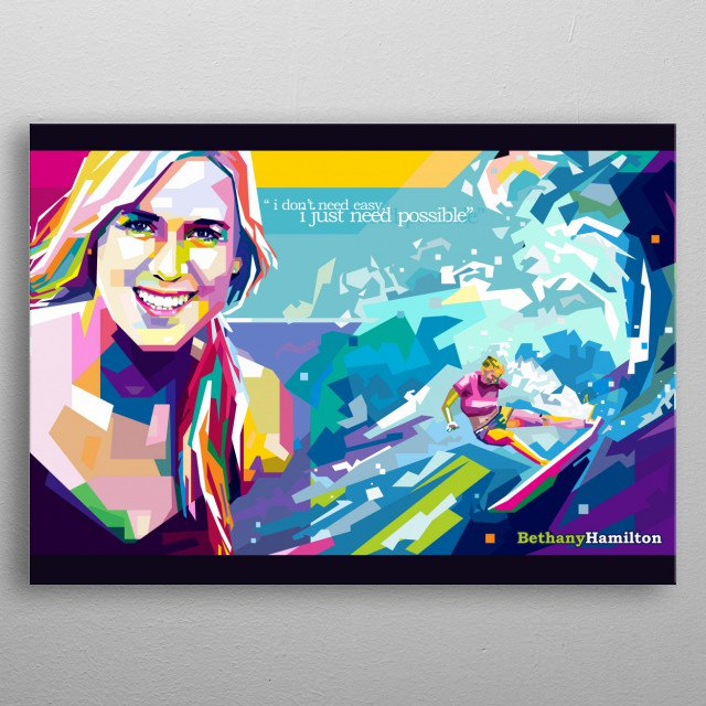 Picture of bethany hamilton surfing clipart black clipart black and white stock Bethany Hamilton SURFING by Oppa Rudy | metal posters - Displate clipart black and white stock