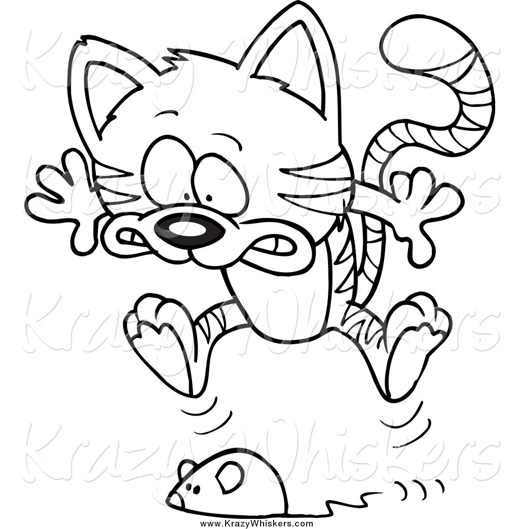 Picture of cat toys clipart black and white clip transparent stock Critter Clipart of a Black and White Toy Mouse Frightening a ... clip transparent stock
