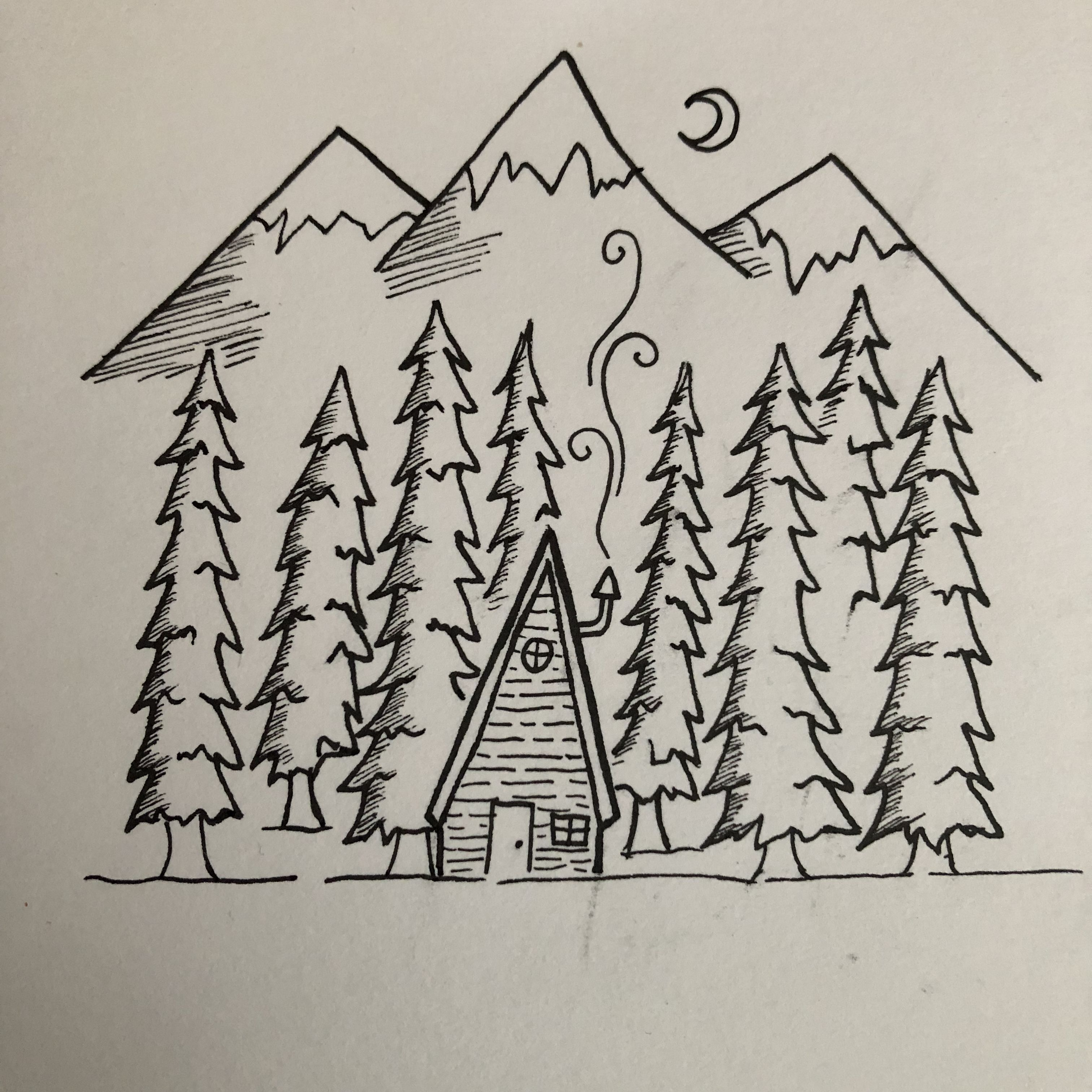 Picture of small little hut on fire and smoke clipart jpg black and white download Black and white pen drawing. Mountains, snow, moon, night ... jpg black and white download