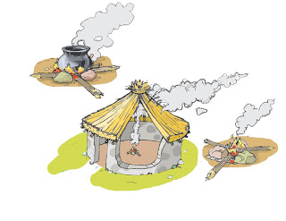 Picture of small little hut on fire and smoke clipart clipart library library Dan Craig\'s Blog: Thatched Hut with a Three Stone Fire clipart library library