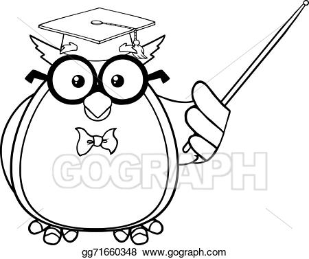 Teacher clipart picture black white clip art royalty free download EPS Illustration - Black and white wise owl teacher. Vector ... clip art royalty free download