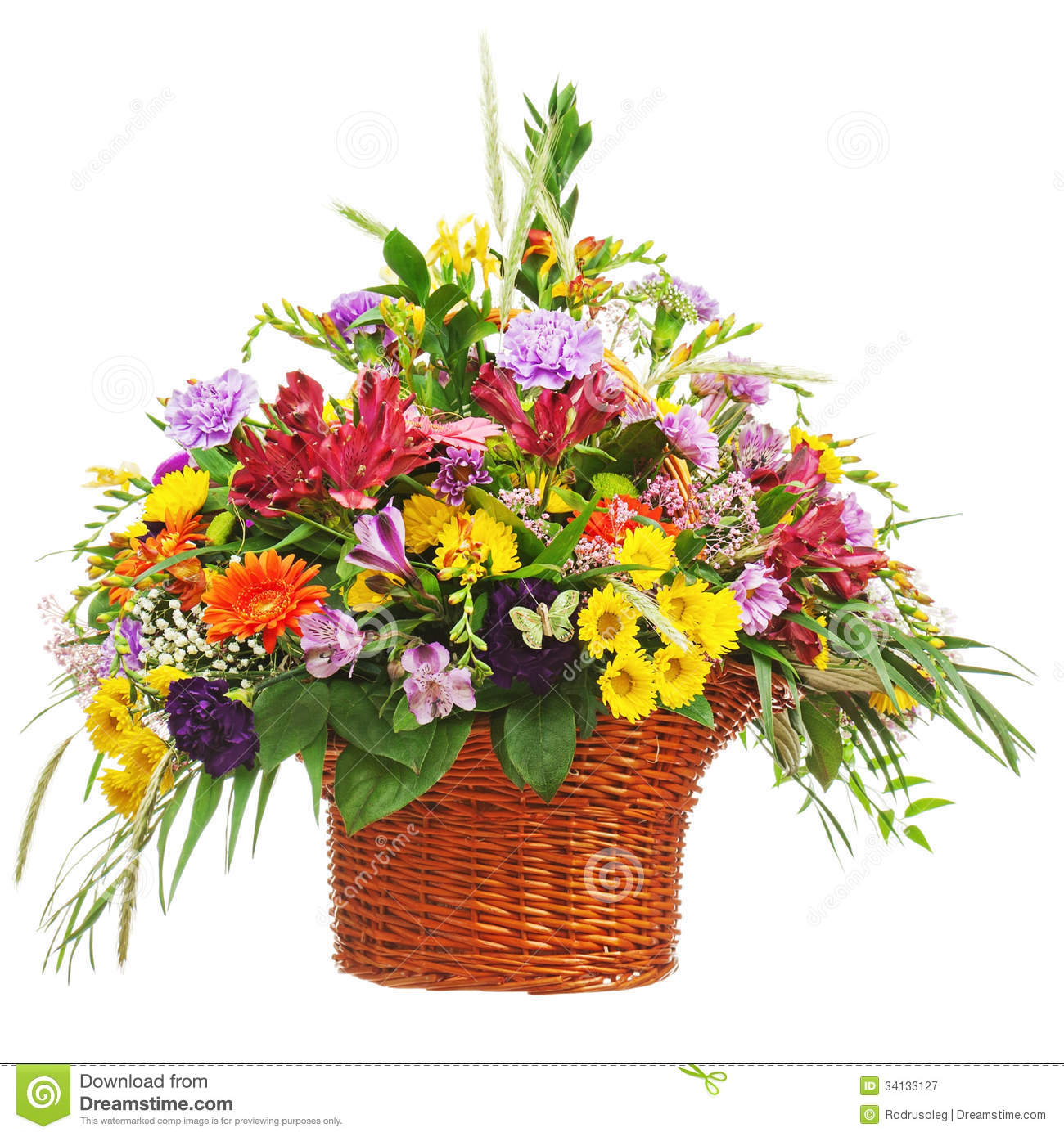 Pictures of flowers bouquet free banner freeuse download Flower Bouquet Arrangement Centerpiece In A Wicker Gift Basket ... banner freeuse download