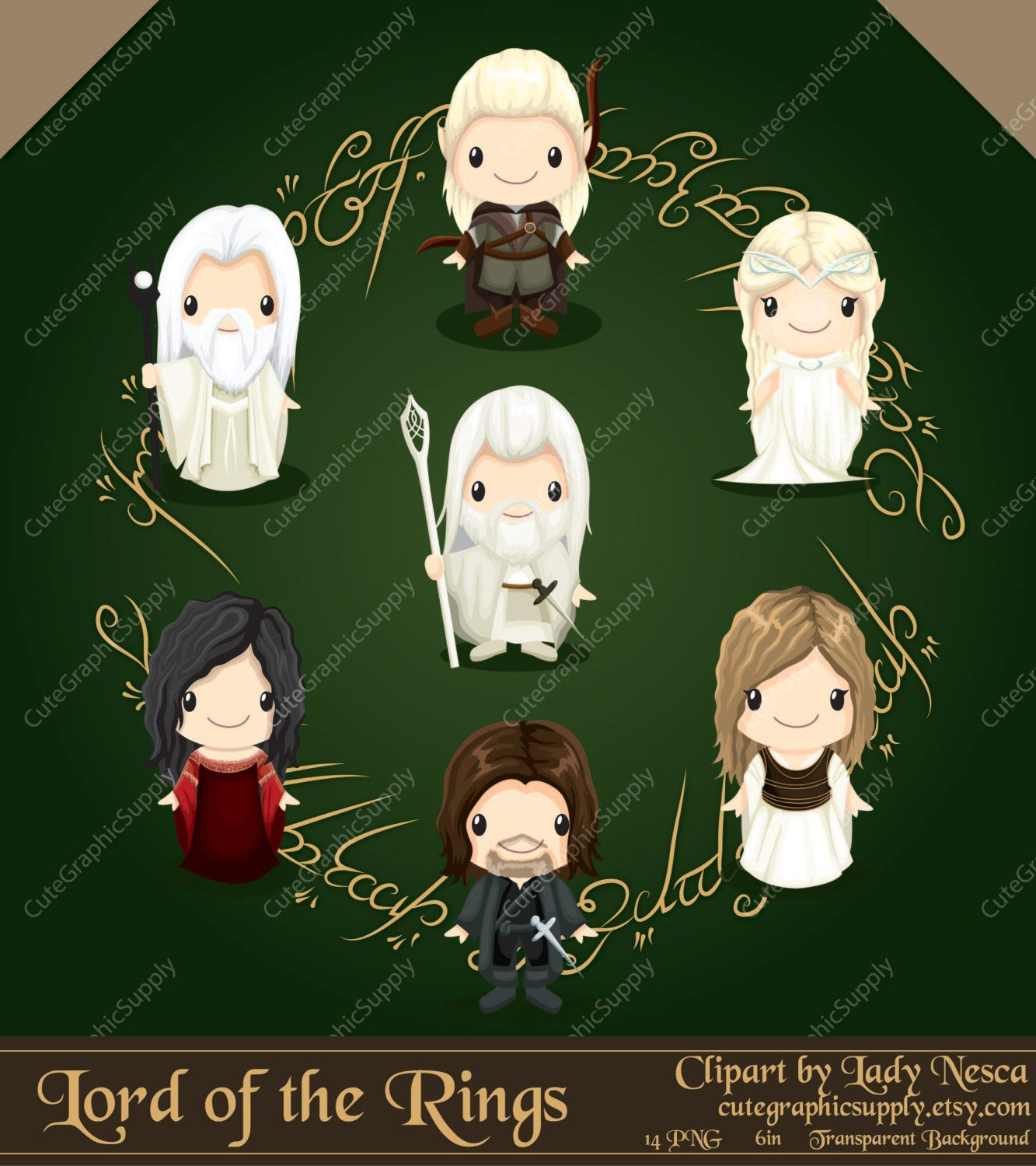 Pictures of gandalf from the hobbit clipart image freeuse Lord of the Rings inspired clipart hobbit by ... image freeuse