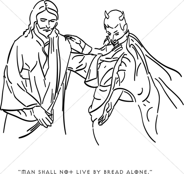 Tempt clipart clip art black and white download Satan Tempts Jesus with Earthly Riches | Temptation of ... clip art black and white download