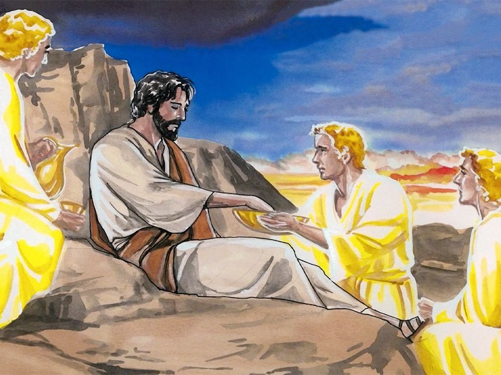 Pictures of jesus being tempted by satan clipart vector royalty free Free visuals: The temptation of Jesus Jesus eats nothing for ... vector royalty free