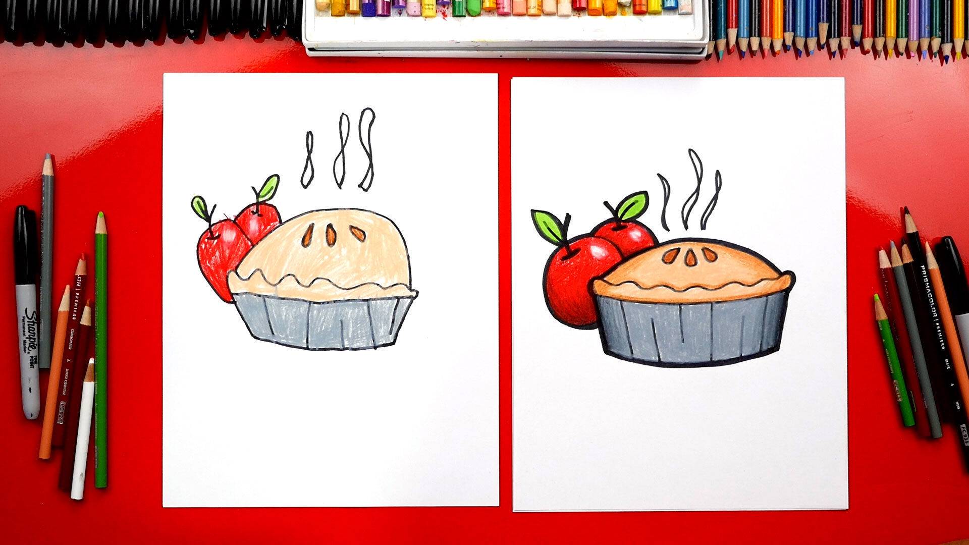 Pie tin bakeware clipart sketch side svg black and white download How To Draw An Apple Pie For Thanksgiving - Art For Kids Hub - svg black and white download