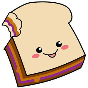 Pieces of a peanut butter and jelly sandwich clipart graphic free stock Comfort Food PB&J Sandwich graphic free stock