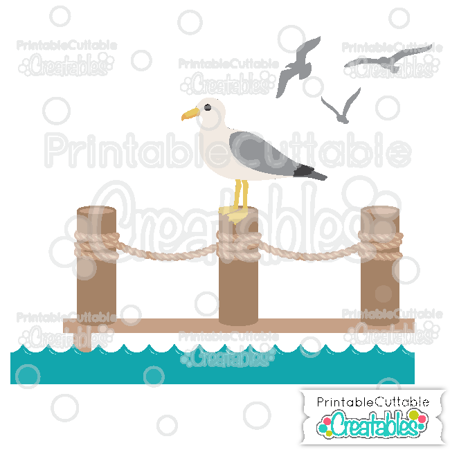 Pier clipart svg black and white library Seagull on Pier SVG Cutting File & Clipart for Silhouette ... svg black and white library